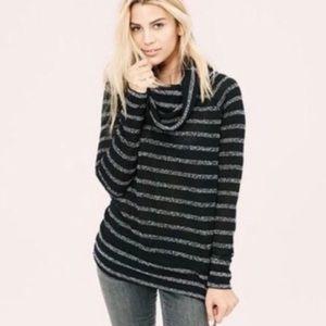 Lou & Grey Striped Black & Gray Cowl Neck Sweater